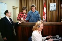STRANGE BREW, Rick Moranis (second left), Dave Thomas, Pierre Trudeau (in photograph), 1983. ©MGM