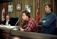 STRANGE BREW, David Beard, Rick Moranis, Dave Thomas, (in photographs) Pierre Trudeau, Queen Elizabeth II, 1983, (c) MGM