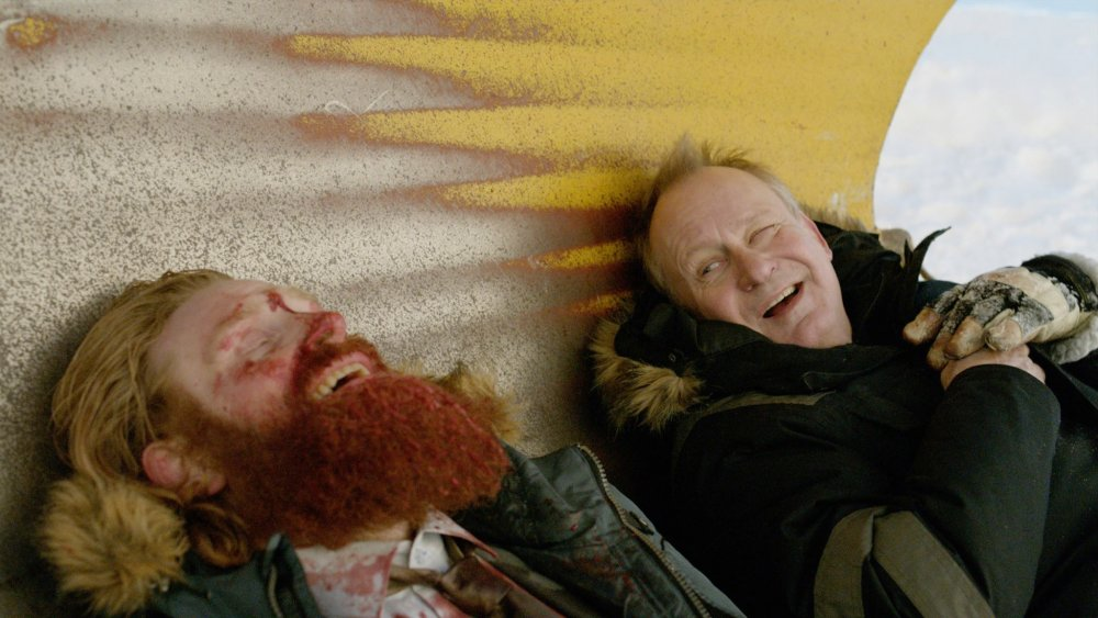 IN ORDER OF DISAPPEARANCE, (aka KRAFTIDIOTEN), from left: Kristofer Hivju, Stellan Skarsgard, 2014. © Magnet Releasing