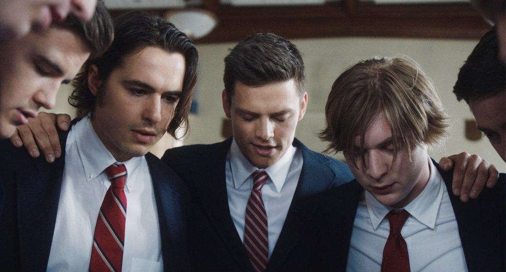 GOAT, from left: Ben Schnetzer, Austin Lyon, Danny Flaherty, 2016. ph: Brian Douglas/© Paramount Pictures