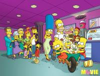 THE SIMPSONS MOVIE, Marge Simpson (center, voice: Julie Kavner),  Homer Simpson (back, right of center, voice: Dan Castellaneta), Lisa Simpson (front, second from left, voice: Yeardley Smith), Maggie Simpson (in wheelbarrow), Bart Simpson (right, voice: Na