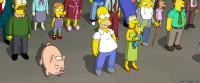 THE SIMPSONS MOVIE, Ned Flanders (left, voice: Harry Shearer), Homer Simpson (center, voice: Dan Castellaneta), Marge Simpson (front right, voice: Julie Kavner), Maggie Simpson (in arms), Jasper Beardley (second from right), 2007. TM & copyright ©20th Cent