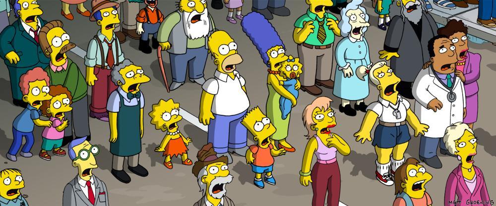 THE SIMPSONS MOVIE, Ralph Wiggum (lower left), left, second row: Rod Flanders, Todd Flanders, Ned Flanders, Jasper Beardley (back, beard), l-r, from second row, in apron: Moe Szyslak, Lisa Simpson, Homer Simpson, Bart Simpson, Marge Simpson, Maggie Simpson