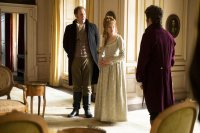 LOVE & FRIENDSHIP, (aka LOVE AND FRIENDSHIP), from left, Justin Edwards, Emma Greenwell, Tom Bennett, 2016, ©Roadside Attractions