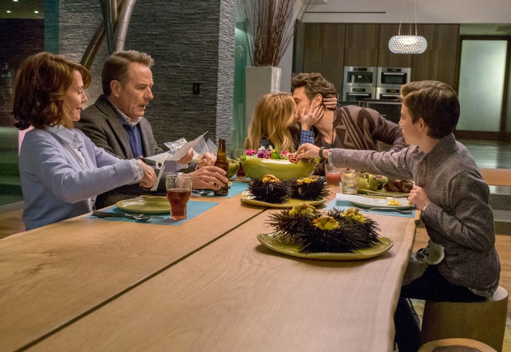 WHY HIM?, from left: Megan Mullally, Bryan Cranston, Zoey Deutch, James Franco, Griffin Gluck, 2016, ph: Scott Garfield/TM and copyright ©20th Century Fox. All rights reserved.