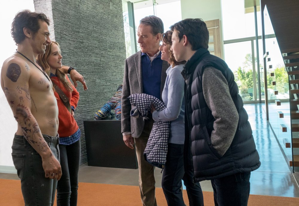WHY HIM?, from left: James Franco, Zoey Deutch, Bryan Cranston, Megan Mullally,Griffin Gluck, 2016, ph: Scott Garfield/TM and copyright ©20th Century Fox. All rights reserved.