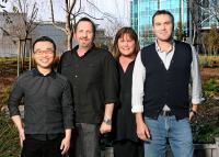 SHREK THE THIRD, (aka SHREK 3), co-director Raman Hui (left), producer Aron Warner (second from left), director Chris Miller (right), 2007. ©Paramount