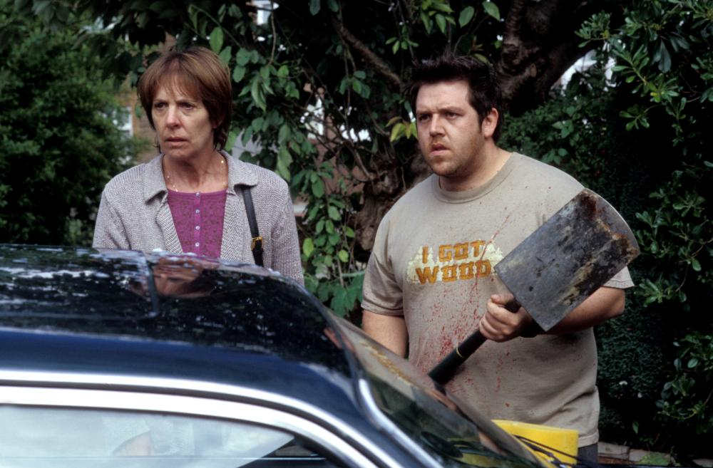 SHAUN OF THE DEAD, Penelope Wilton, Nick Frost, 2004, (c) Rogue Pictures