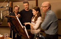 TROLLS, from left: co-director Walt Dohrn, Anna Kendrick, Justin Timberlake, director Mike Mitchell in the recording studio at DreamWorks Animation in Glendale, California, 2016. ph: Jason Bush/TM & copyright © 20th Century Fox Film Corp. All Rights reserved.
