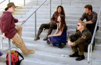 SERENITY, Writer/director Joss Whedon, Gina Torres, Summer Glau, Alan Tudyk, Nathan Fillion on set, 2005, (c) Universal /