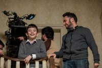 A MONSTER CALLS, from left: Lewis MacDougall, director J.A. Bayona, on set, 2016, ph: Quim Vives/© Focus Features