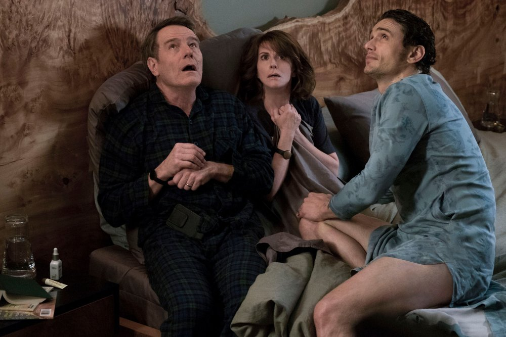 WHY HIM?, FROM LEFT: BRYAN CRANSTON, MEGAN MULLALLY, JAMES FRANCO, 2016, PH: SCOTT GARFIELD/TM AND COPYRIGHT ©20TH CENTURY FOX. ALL RIGHTS RESERVED.