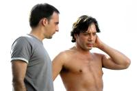 THE SEA INSIDE, (aka MAR ADENTRO), director Alejandro Amenabar, Javier Bardem on set, 2004, (c) Fine Line