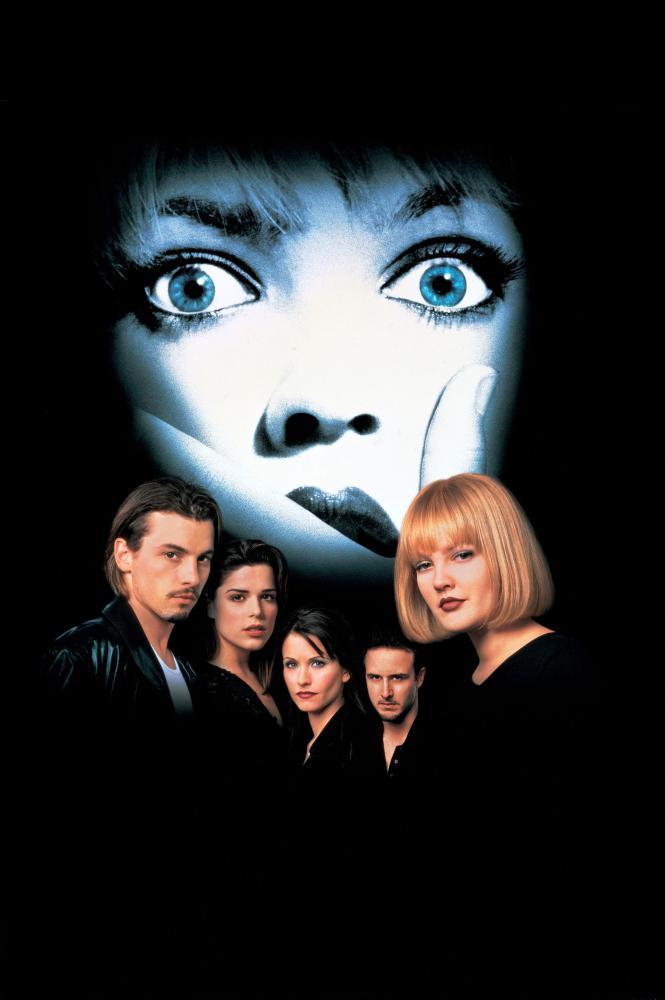 SCREAM, Skeet Ulrich, Neve Campbell, Courteney Cox, David Arquette, Drew Barrymore, 1996, (c) Dimension