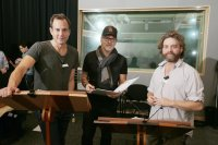 THE LEGO BATMAN MOVIE, FROM LEFT, WILL ARNETT (VOICE OF BATMAN AND BRUCE WAYNE), DIRECTOR  CHRIS MCKAY, ZACH GALIFIANAKIS (VOICE OF THE JOKER), IN RECORDING STUDIO, 2017. PH: ERIC CHARBONNEAU. ©WARNER BROS.