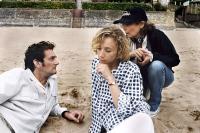 SAGAN, from left: Pierre Palmade, Sylvie Testud as Francoise Sagan, writer/director Diane Kurys, on set, 2008. ©Europa Corp