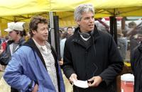 THE RING TWO, Simon Baker, producer Walter Parkes on set, 2005, (c) DreamWorks