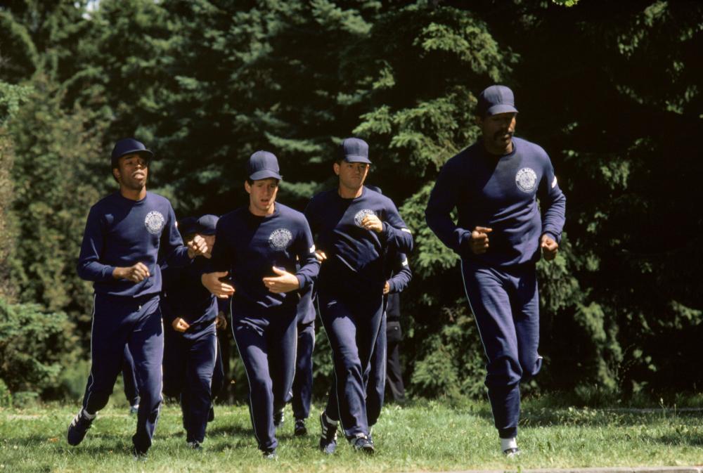 POLICE ACADEMY, Michael Winslow, Steve Guttenberg, David Graf, Bubba Smith, 1984, (c) Warner Brothers