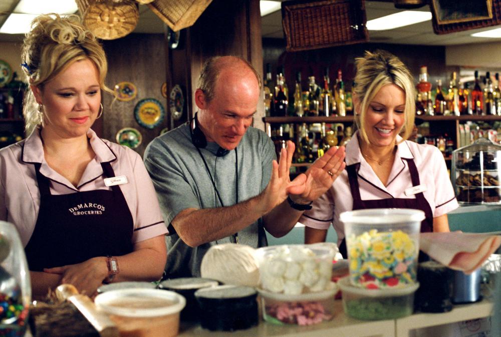 THE PERFECT MAN, Caroline Rhea, director Mark Rosman, Heather Locklear on set, 2005, (c) Universal
