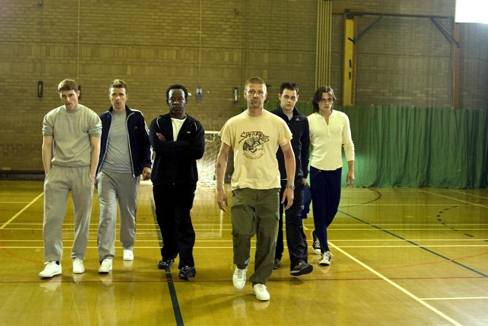 OUTLAW, Sean Harris (left),  Lennie James (third from left), Sean Bean (third from right), Danny Dyer (second from right), Rupert Friend (right), 2007. ©Magnolia Pictures