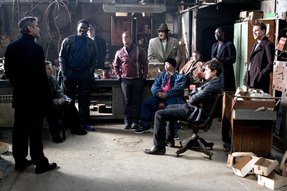 OCEAN'S TWELVE, George Clooney, Eddie Jemison, Bernie Mac, Elliott Gould, Scott Caan, Carl Reiner, Shaobo Qin, Brad Pitt, Casey Affleck, Don Cheadle, Matt Damon, 2004, (c) Warner Brothers