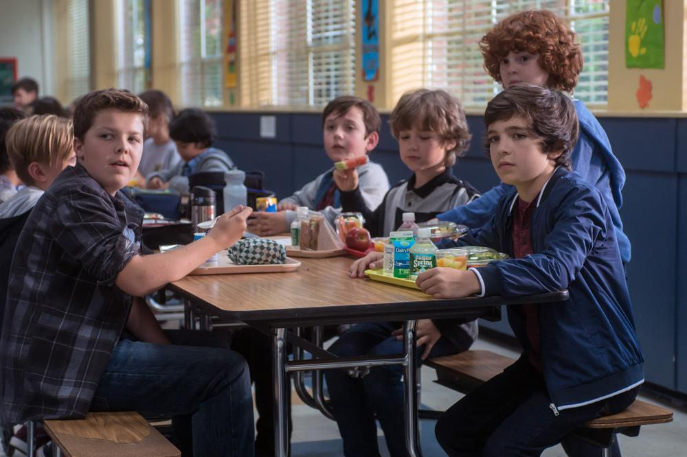 WONDER, FROM LEFT: TY CONSIGLIO, JAMES A HUGHES, KYLE BREITKOPF, BRYCE GHEISAR, 2017. PH: DALE ROBINETTE/© LIONSGATE