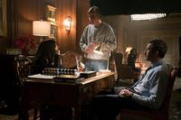 MOLLY'S GAME, L-R: JESSICA CHASTAIN, DIRECTOR AARON SORKIN, CHRIS O'DOWD ON SET, 2017. PH: MICHAEL GIBSON/©STX ENTERTAINMENT