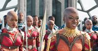 BLACK PANTHER, LEFT: FLORENCE KASUMBA, RIGHT: DANAI GURIRA, 2018. © MARVEL/© WALT DISNEY STUDIOS MOTION PICTURES