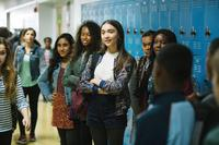 A WRINKLE IN TIME, FROM LEFT IN CENTER: ANALISE HOVEYDA (IN JEAN JACKET), JASMINE DAMPIER, ROWAN BLANCHARD, 2018. PH: ATSUSHI NISHIJIMA/© WALT DISNEY STUDIOS MOTION PICTURES