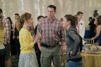 BLOCKERS, L-R: LESLIE MANN, JOHN CENA, DIRECTOR KAY CANNON ON SET, 2018. PH: QUANTRELL D. COLBERT/© UNIVERSAL