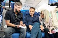 BOOK CLUB, FROM LEFT: DIRECTOR BILL HOLDERMAN, ANDY GARCIA, DIANE KEATON, ON SET, 2018. PH: MELINDA SUE GORDON/© PARAMOUNT PICTURES