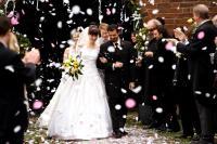 MORD IST MEIN GESCHAFT, LIEBLING, Nora Tschirner (wedding dress), Rick Kavanian (right of center), Bud Spencer (beard, right of center), 2009. ©Warner Bros