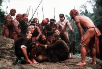 THE MISSION, foreground, center: Daniel Berrigan (gray hair), Robert De Niro (center), Jeremy Irons, Liam Neeson, 1986, (c) Warner Brothers