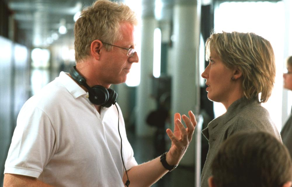 LOVE ACTUALLY, Director Richard Curtis, Emma Thompson on the set, 2003, (c) Universal