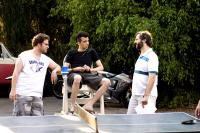 KNOCKED UP, Seth Rogen, Jay Baruchel, director Judd Apatow, on set, 2007. ©Universal Pictures