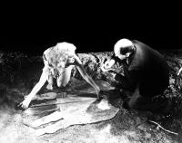 KING KONG, Fay Wray, producer Merian C. Cooper on set measuring King Kong's handprint, 1933