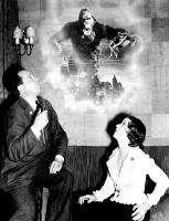 KING KONG, producer Merian C. Cooper, Fay Wray in awe of King Kong on the film poster, 1933
