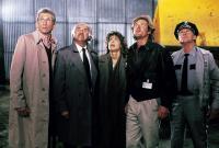 KING KONG LIVES, first four from left: Frank Maraden, Peter Michael Goetz, Linda Hamilton, Brian Kerwin, 1986. ©DeLaurentiis Entertainment Group
