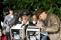 INDIANA JONES AND THE KINGDOM OF THE CRYSTAL SKULL, (aka INDIANA JONES 4), Cate Blanchett, director Steven Spielberg, producer Frank Marshall, Harrison Ford, on set, 2008. ©Paramount