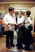 IDENTITY, Director James Mangold, script supervisor Sheila Waldron, producer Cathy Konrad on the set, 2003, (c) Columbia