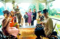 HOPE AND GLORY, seated left front to back: Katrine Boorman, Sarah Miles, seated right front to back: Amelda Brown, Jill Baker, standing rear from left: David Hayman, Geraldine Muir, Sebastian Rice-Edwards, Susan Wooldridge, Derrick O'Connor, 1987, © Columb