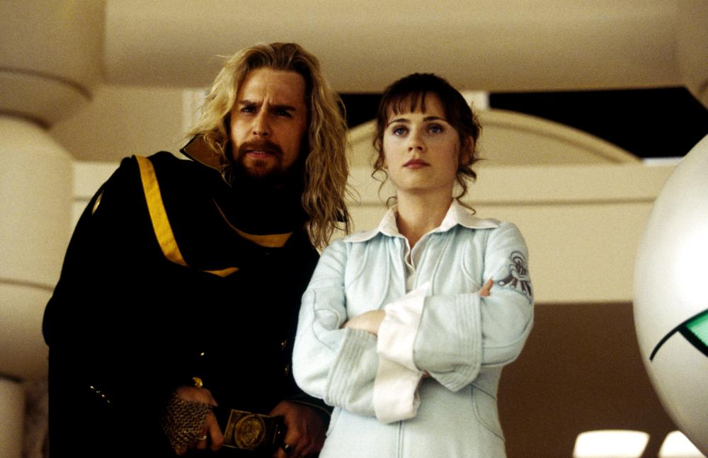 THE HITCHHIKER'S GUIDE TO THE GALAXY, Sam Rockwell, Zooey Deschanel, 2005, (c) Touchstone