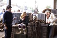 THE GOLDEN COMPASS, (aka HIS DARK MATERIALS: THE GOLDEN COMPASS, aka HIS DARK MATERIALS: NORTHERN LIGHTS), director Chris Weitz,  Dakota Blue Richards, Sam Elliott, on set, 2007. ©New Line Cinema