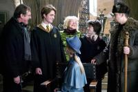 HARRY POTTER AND THE GOBLET OF FIRE, director Mike Newell, Robert Pattinson, Miranda Richardson, Daniel Radcliffe, Stanislav Ianevski on set, 2005, (c) Warner Brothers