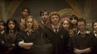 HARRY POTTER AND THE HALF-BLOOD PRINCE, Shefali Chowdhury (left), Afshan Azad (second from left), Alfred Enoch (tallest), Emma Watson (left of center), Matthew Lewis (back center), Rupert Grint (right of center, front), Jessie Cave (pink bow), Devon Murray