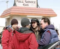 THE GOOD LIFE, Mark Webber, Patrick Fugit, director Stephen Berra, Chris Klein, on set, 2007.