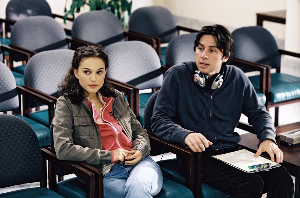 GARDEN STATE, Natalie Portman, director Zach Braff on set, 2004, (c) Fox Searchlight