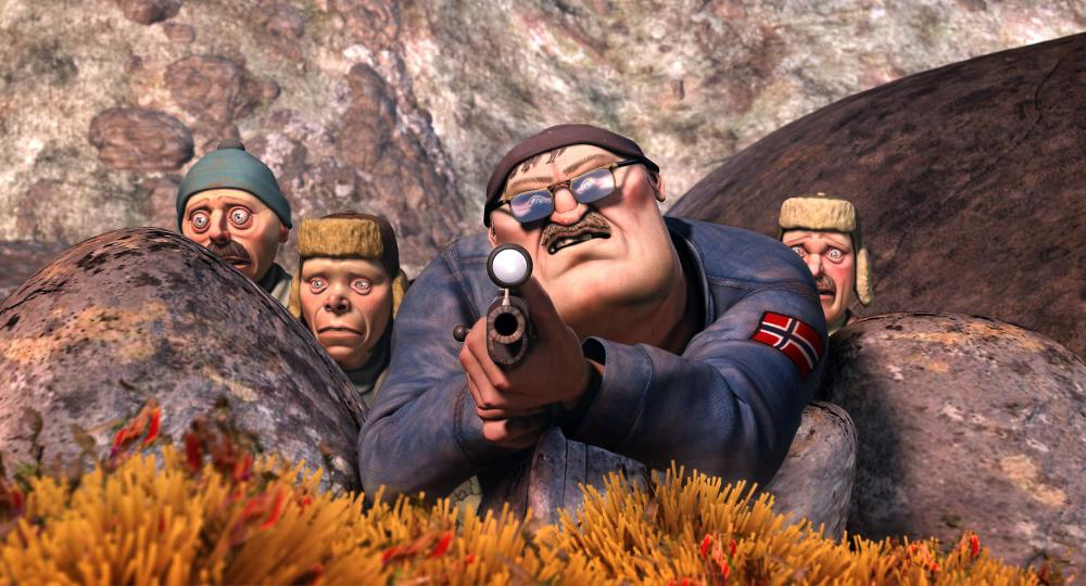 FREE JIMMY, Hunters-Tarjei (voiced by Russell Barr), Bjorn Helge (voiced by David Tennant), HudMaSpecs (voiced by James Cosmo), and Eirik (voiced by Douglas Henshall), 2006