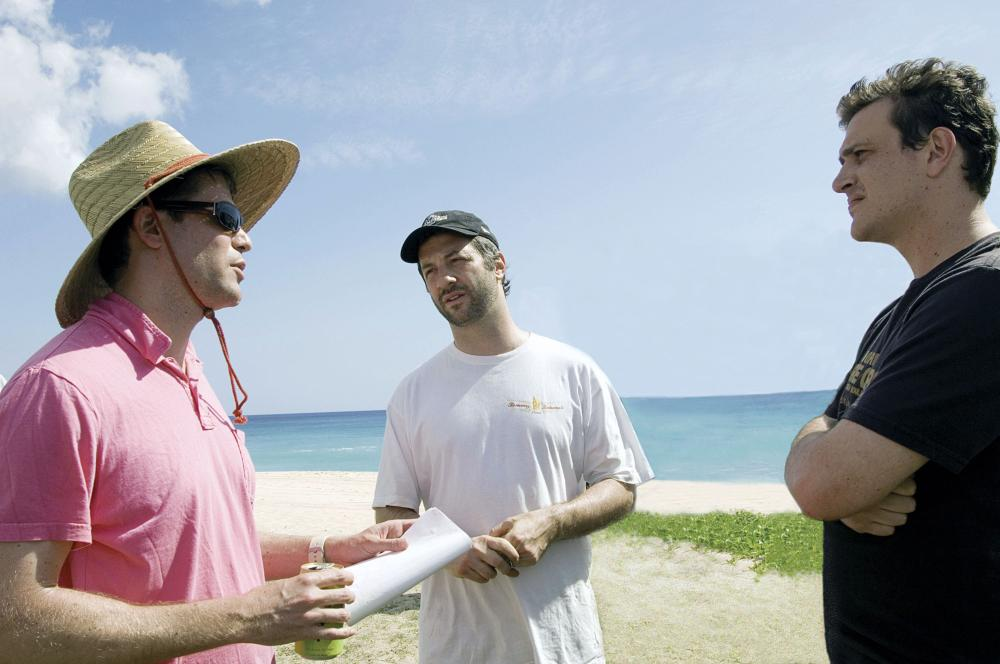 FORGETTING SARAH MARSHALL, director Nicholas Stoller, producer Judd Apatow, writer Jason Segel, on set, 2008. ©Universal