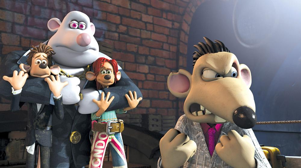 FLUSHED AWAY, Roddy (voice: Hugh Jackman), Whitey (voice: Bill Nighy), Rita (voice: Kate Winslet), Spike (voice: Andy Serkis), 2006, ©DreamWorks